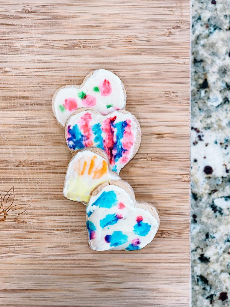 painted heart shaped sugar cookies
