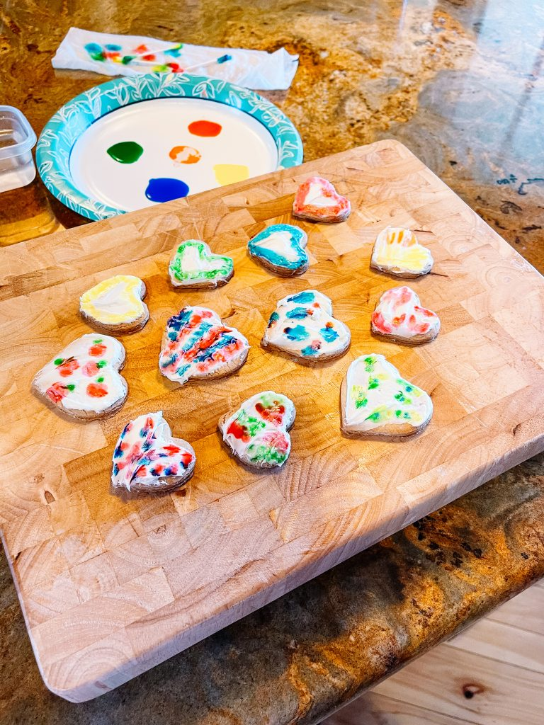 watercolor heart shaped sugar cookies