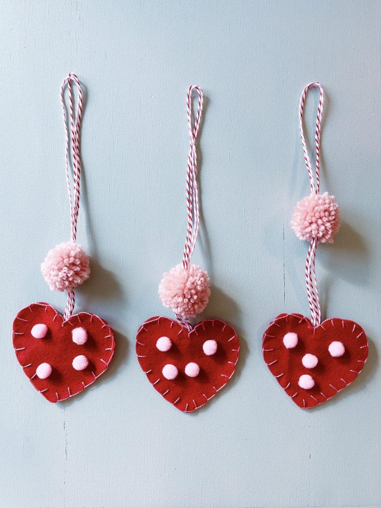mini felt heart with pom-pom