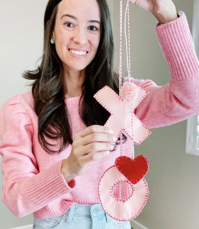 DIY Valentine's Day felt cabinet hangers