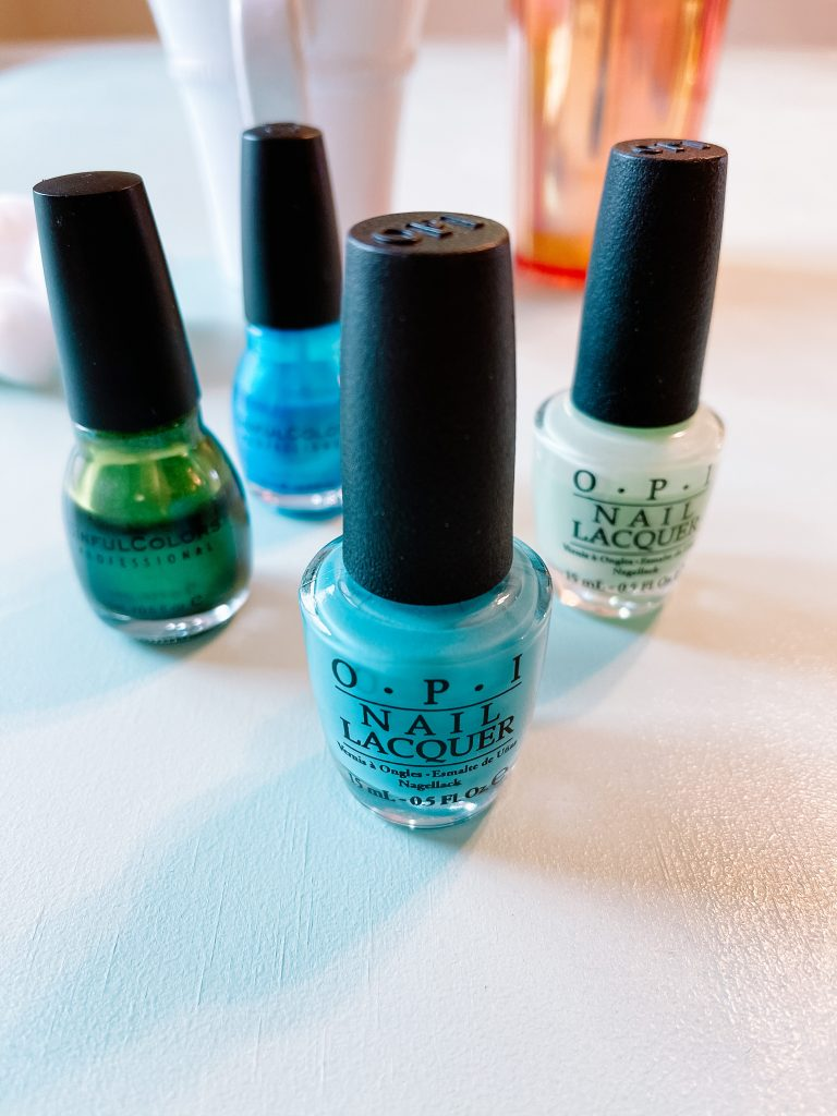 green and blue nail polish