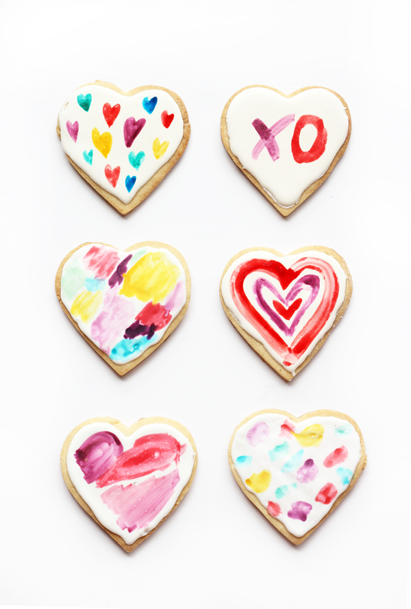 watercolor heart cookies